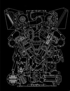 příčný řez motorem
